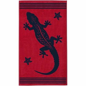 Delindo Lifestyle® Frottee Strandtuch Tropical Gecko ROT, 100% Baumwolle, Strandlaken 100 x 180 cm - 1