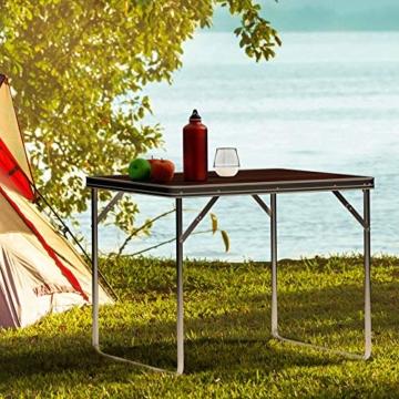 Deuba Campingtisch Klappbar Wetterfestes Alu Holzoptik 80x60x70cm Faltbar Campingmöbel Klapptisch Beistelltisch Outdoor - 3