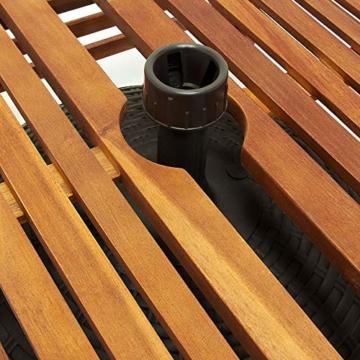 Deuba Sonnenschirmständer Akazienholz Schirmständer Abdeckung Standfuß Sonnenschirm • wetterfest • bis 9 cm Rohrdurchmesser • 62x62x25cm - 4