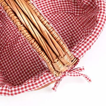 Display4top Oval Country Style Korb Picknickkorb mit Klappgriffen & Linern für Picknicks, Partys und BBQs - 40cm (L) x 30cm (B) x 20cm (H) - 2