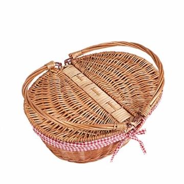Display4top Oval Country Style Korb Picknickkorb mit Klappgriffen & Linern für Picknicks, Partys und BBQs - 40cm (L) x 30cm (B) x 20cm (H) - 3