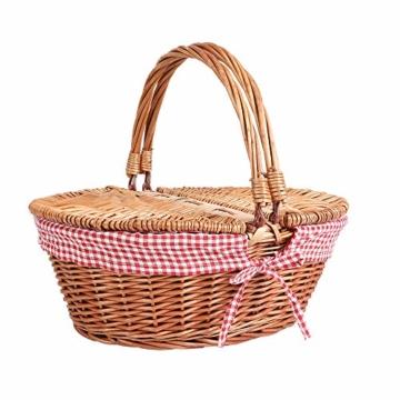Display4top Oval Country Style Korb Picknickkorb mit Klappgriffen & Linern für Picknicks, Partys und BBQs - 40cm (L) x 30cm (B) x 20cm (H) - 1