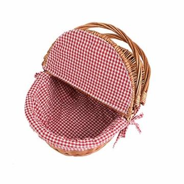 Display4top Oval Country Style Korb Picknickkorb mit Klappgriffen & Linern für Picknicks, Partys und BBQs - 40cm (L) x 30cm (B) x 20cm (H) - 5