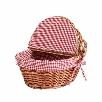 Display4top Oval Country Style Korb Picknickkorb mit Klappgriffen & Linern für Picknicks, Partys und BBQs - 40cm (L) x 30cm (B) x 20cm (H) - 6