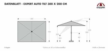 Doppler EXPERT Auto Tilt – Rechteckiger Sonnenschirm für Balkon oder Terrasse – Knickbar – ca. 300x200 cm – Anthrazit - 2