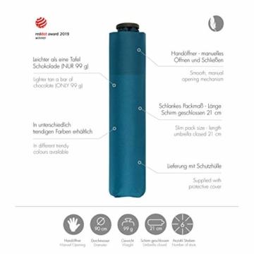 doppler Taschenschirm Zero,99 – Gewicht von nur 99 Gramm – Stabil – Windproof – 21 cm – Ultra Blue - 3