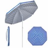 Duhome Sonnenschirm Ø160 cm Strandschirm Polyester höhenverstellbar neigbar Gartenschirm wasserabweisend mit Tasche Farbauswahl GB1800, Farbe:Blau-Weiss - 1