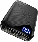 EAFU Powerbank, Mini LED Display 10000mAh Hohe Kapazität Dual 3A USB Typ C Tragbares Ladegerät, Externer Akku mit Taschenlampe für iPhone XS X 8 Plus Samsung S10 Google LG iPad Airpods - 1