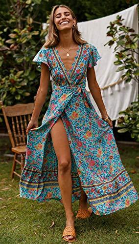 ECOWISH Damen Kleider Boho Sommerkleid V-Ausschnitt Maxikleid Kurzarm Strandkleid Lang mit Schlitz Grün XL - 2