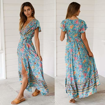 ECOWISH Damen Kleider Boho Sommerkleid V-Ausschnitt Maxikleid Kurzarm Strandkleid Lang mit Schlitz Grün XL - 3