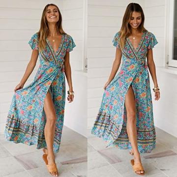 ECOWISH Damen Kleider Boho Sommerkleid V-Ausschnitt Maxikleid Kurzarm Strandkleid Lang mit Schlitz Grün XL - 4