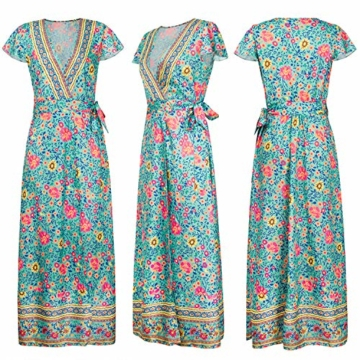 ECOWISH Damen Kleider Boho Sommerkleid V-Ausschnitt Maxikleid Kurzarm Strandkleid Lang mit Schlitz Grün XL - 5