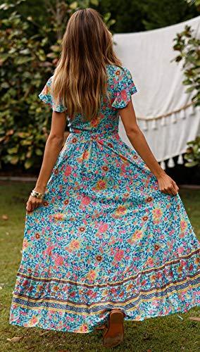 ECOWISH Damen Kleider Boho Sommerkleid V-Ausschnitt Maxikleid Kurzarm Strandkleid Lang mit Schlitz Grün XL - 6