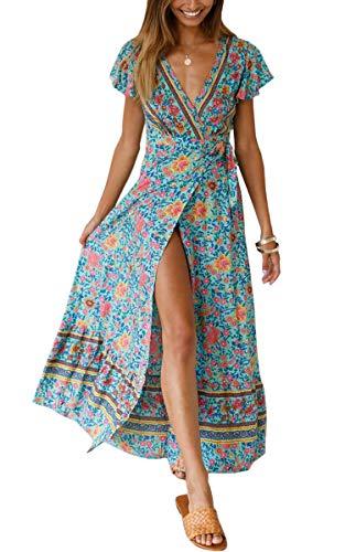 ECOWISH Damen Kleider Boho Sommerkleid V-Ausschnitt Maxikleid Kurzarm Strandkleid Lang mit Schlitz Grün XL - 1