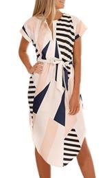 ECOWISH Sommerkleider Damen Kurzarm V-Ausschnitt Strand Blumen Kleider Abendkleid Knielang Beige L - 1