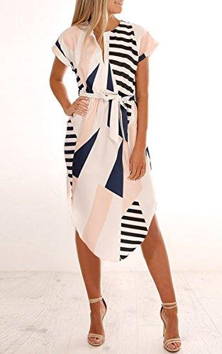 ECOWISH Sommerkleider Damen Kurzarm V-Ausschnitt Strand Blumen Kleider Abendkleid Knielang Beige L - 3