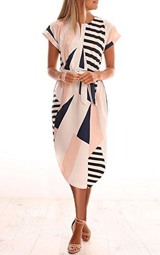 ECOWISH Sommerkleider Damen Kurzarm V-Ausschnitt Strand Blumen Kleider Abendkleid Knielang Beige L - 4