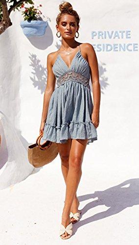 ECOWISH V Ausschnitt Kleid Damen Spitzenkleid Träger Rückenfreies Kleider Sommerkleider Strandkleider Hellblau M - 2
