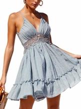 ECOWISH V Ausschnitt Kleid Damen Spitzenkleid Träger Rückenfreies Kleider Sommerkleider Strandkleider Hellblau M - 1