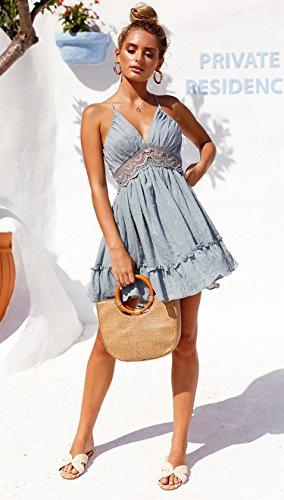 ECOWISH V Ausschnitt Kleid Damen Spitzenkleid Träger Rückenfreies Kleider Sommerkleider Strandkleider Hellblau M - 3
