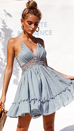ECOWISH V Ausschnitt Kleid Damen Spitzenkleid Träger Rückenfreies Kleider Sommerkleider Strandkleider Hellblau M - 4