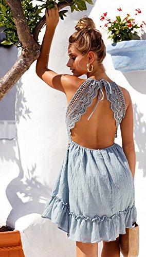 ECOWISH V Ausschnitt Kleid Damen Spitzenkleid Träger Rückenfreies Kleider Sommerkleider Strandkleider Hellblau M - 7