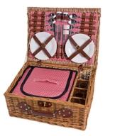 eGenuss LY12041 Handgefertigtes Picknickkorb für 4 Personen mit Kühlfach - Inklusive Edelstahlbesteck, Kühlfach, Weingläser und Keramikteller - Rotes Gingham-Muster 47x34x20 cm - 1