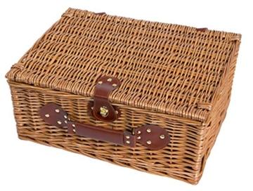 eGenuss LY12041 Handgefertigtes Picknickkorb für 4 Personen mit Kühlfach - Inklusive Edelstahlbesteck, Kühlfach, Weingläser und Keramikteller - Rotes Gingham-Muster 47x34x20 cm - 3