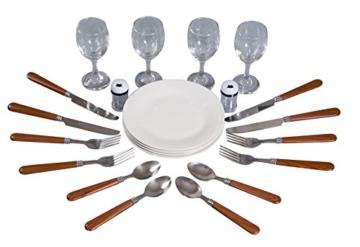 eGenuss LY12041 Handgefertigtes Picknickkorb für 4 Personen mit Kühlfach - Inklusive Edelstahlbesteck, Kühlfach, Weingläser und Keramikteller - Rotes Gingham-Muster 47x34x20 cm - 4