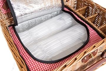 eGenuss LY12041 Handgefertigtes Picknickkorb für 4 Personen mit Kühlfach - Inklusive Edelstahlbesteck, Kühlfach, Weingläser und Keramikteller - Rotes Gingham-Muster 47x34x20 cm - 6