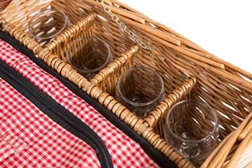 eGenuss LY12041 Handgefertigtes Picknickkorb für 4 Personen mit Kühlfach - Inklusive Edelstahlbesteck, Kühlfach, Weingläser und Keramikteller - Rotes Gingham-Muster 47x34x20 cm - 7