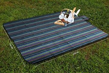 Extsud Outdoor Camping Picknick Matte Feuchtigkeit Pad Ethnische Art Tragbare Picknick Decke Wasserdicht Campingdecke Stranddecke mit Tragegriff Picknick Matte 200 x 150cm - 4