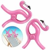 FAVENGO 2 Stück Handtuchklemmen Flamingo StrandtuchklammernGroß HandtuchclipsStrand Badetuchklammern Neuheit Boca Clips Strandtuch Tragbar Wäscheklammern Kunststoff für Tuch Kleid Sonnenlieg Urlaub - 1
