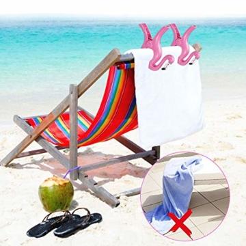 FAVENGO 2 Stück Handtuchklemmen Flamingo StrandtuchklammernGroß HandtuchclipsStrand Badetuchklammern Neuheit Boca Clips Strandtuch Tragbar Wäscheklammern Kunststoff für Tuch Kleid Sonnenlieg Urlaub - 3