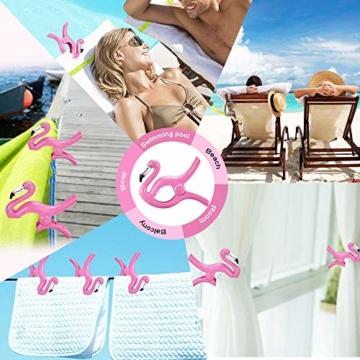 FAVENGO 2 Stück Handtuchklemmen Flamingo StrandtuchklammernGroß HandtuchclipsStrand Badetuchklammern Neuheit Boca Clips Strandtuch Tragbar Wäscheklammern Kunststoff für Tuch Kleid Sonnenlieg Urlaub - 5