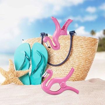 FAVENGO 2 Stück Handtuchklemmen Flamingo StrandtuchklammernGroß HandtuchclipsStrand Badetuchklammern Neuheit Boca Clips Strandtuch Tragbar Wäscheklammern Kunststoff für Tuch Kleid Sonnenlieg Urlaub - 6