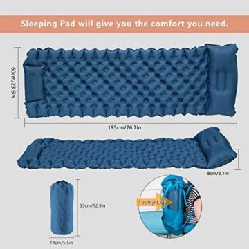 FEELLE Isomatte Camping Selbstaufblasbare, Ultraleichte Aufblasbare Luftmatratze mit Kissen Schlafmatte Campingmatratze für Camping, Reise, Outdoor, Wandern, Strand - 2