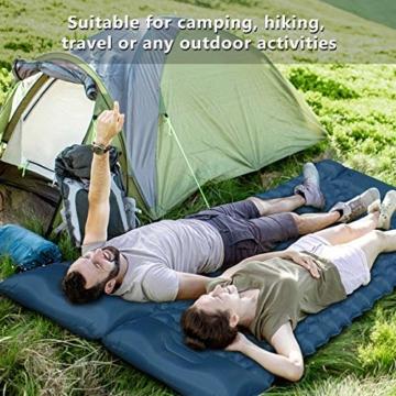 FEELLE Isomatte Camping Selbstaufblasbare, Ultraleichte Aufblasbare Luftmatratze mit Kissen Schlafmatte Campingmatratze für Camping, Reise, Outdoor, Wandern, Strand - 4