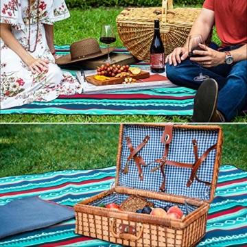 femor 200 x 300 cm Picknickdecke XXL Picknick-Matte Outdoor wasserdichte sanddichte Stranddecke tolle Fleece wärmeisoliert mit Tragegriff (Grün) - 3