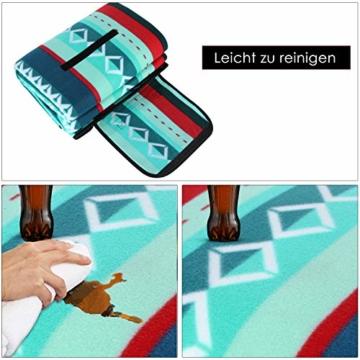 femor 200 x 300 cm Picknickdecke XXL Picknick-Matte Outdoor wasserdichte sanddichte Stranddecke tolle Fleece wärmeisoliert mit Tragegriff (Grün) - 5