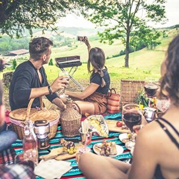 femor 200 x 300 cm Picknickdecke XXL Picknick-Matte Outdoor wasserdichte sanddichte Stranddecke tolle Fleece wärmeisoliert mit Tragegriff (Grün) - 7