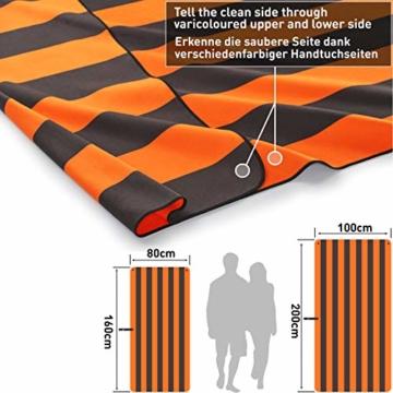 Fit-Flip Strandhandtuch XXL 160x80cm / Orange - Dunkelgrau gestreift- mikrofaser Strandtuch, Handtuch mit aufhänger, mikrofaser handtücher groß - 2