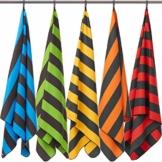 Fit-Flip Strandhandtuch XXL 160x80cm / Orange - Dunkelgrau gestreift- mikrofaser Strandtuch, Handtuch mit aufhänger, mikrofaser handtücher groß - 1