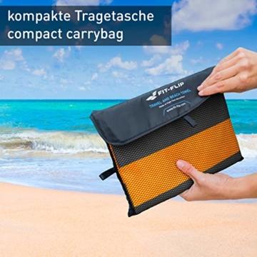 Fit-Flip Strandhandtuch XXL 160x80cm / Orange - Dunkelgrau gestreift- mikrofaser Strandtuch, Handtuch mit aufhänger, mikrofaser handtücher groß - 4