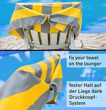 Fit-Flip Strandhandtuch XXL 160x80cm / Orange - Dunkelgrau gestreift- mikrofaser Strandtuch, Handtuch mit aufhänger, mikrofaser handtücher groß - 5
