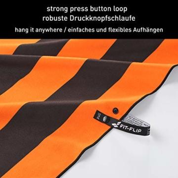 Fit-Flip Strandhandtuch XXL 160x80cm / Orange - Dunkelgrau gestreift- mikrofaser Strandtuch, Handtuch mit aufhänger, mikrofaser handtücher groß - 7