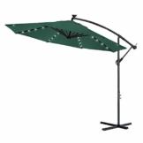 Froadp Ø300cm Alu Knickbarer Sonnenschirme Höhenverstellbarer Ampelschirme mit kurbel Balkonschirm UV Schutz 40+ Gartenschirm(Grün, mit LED) - 1