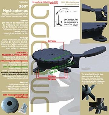 habeig 360° MECHANISMUS +++ für Ampelschirm 360 Grad schwenkbar drehbar Fußpedal Schirm - 2