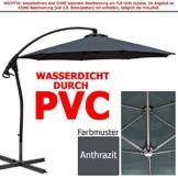 habeig WASSERDICHT Ampelschirm 3m Anthrazit durch PVC Schirm 300cm Sonnenschirm - 1