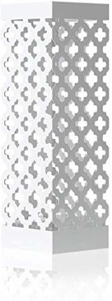HAITRAL Regenschirmständer aus Metall, Quadratischer Schirmständer Mit 2 Haken, Wasserauffangschale Herausnehmbar, Weiß - 1